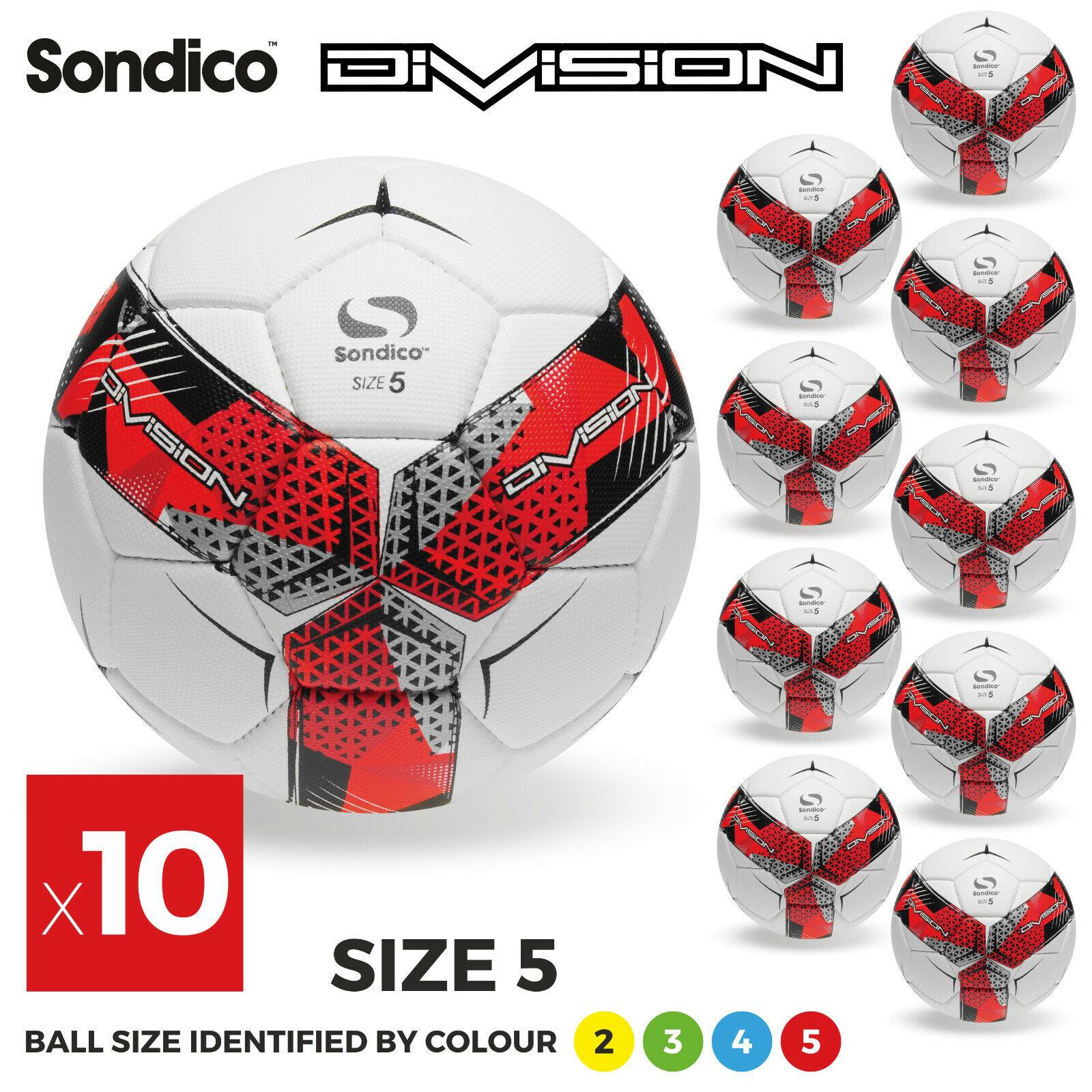 10 x Sondico Divisione formazione PALLONI-dimensioni 2, 3, 4 & 5-Nuovo di Zecca