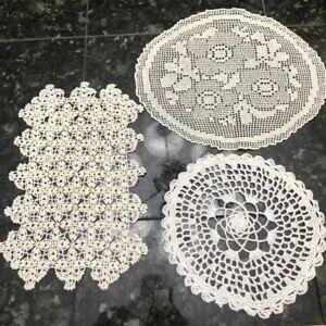 Lot Of 3 Vintage Hand Crochet Doilies Cream Ecru Round Oval Rectangular Floral