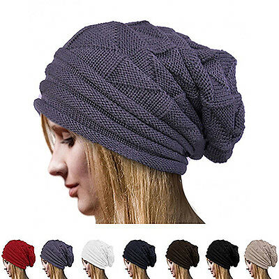 Men's Women's Winter Solid Color Knit Oversize Ski Slouchy Cap Beanie Hat Proper
