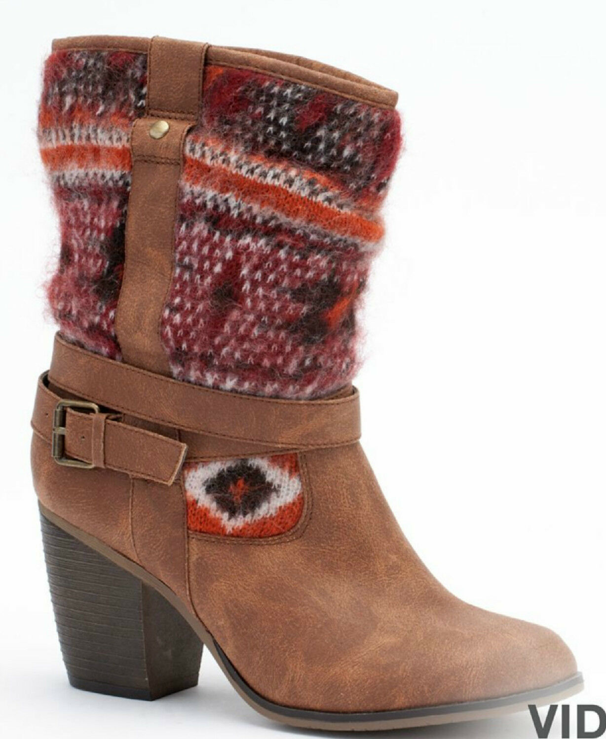 Candies Damenschuhe Mid Calf Braun Stiefel Tribal Pattern 6M 6 M