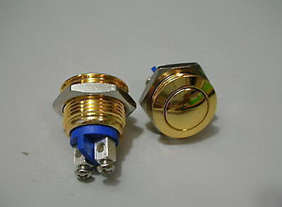 2pcs Gold Plated Stainless Momentary 16mm Push Switch N/O OFF/(ON) 6V 9V 12V