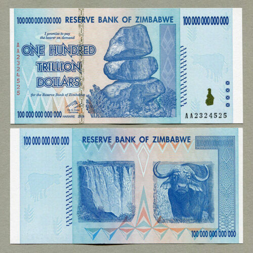 100 TRILLION DOLLAR ZIMBABWE ZIM NOTE CURRENCY 2008 AA UV INSPECTED WITH COA