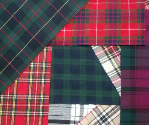 offcuts Pack remnants quilting patchwork Mix bundles Tartan Poly Viscose fabric