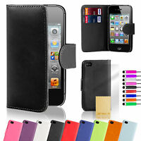 Flip Leather Wallet Cover Case For iPhone 5 /5S + Screen Protector + Stylus Pen