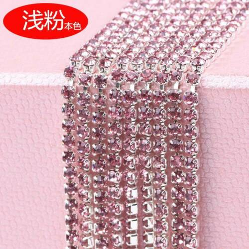 10 Meters Single-row Crystal Rhinestones Diamante Claw Cup Chain Trims Jewelry