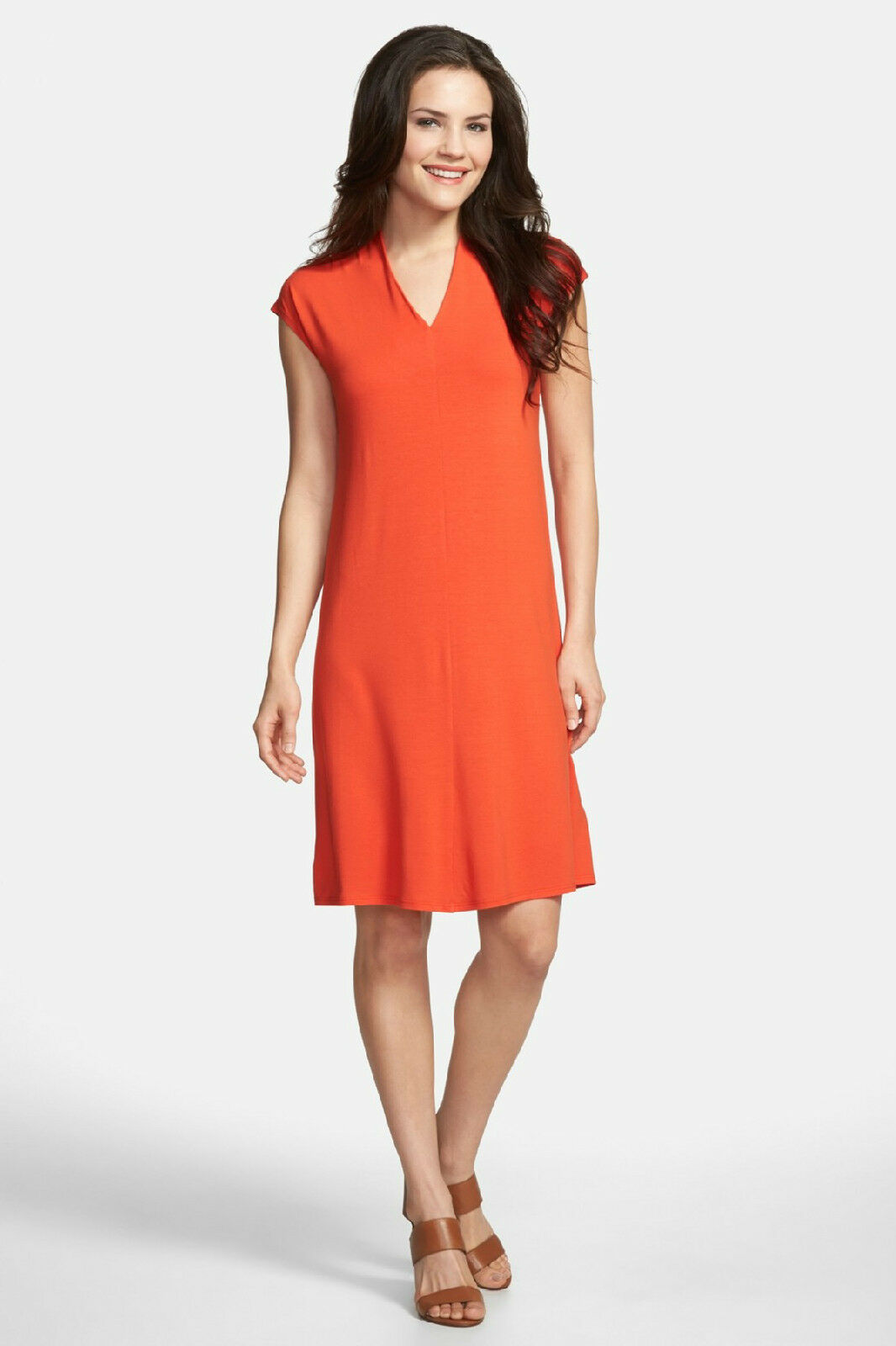 NWT Eileen Fisher Drapey V-Neck Knee Length Dress Orange  - S