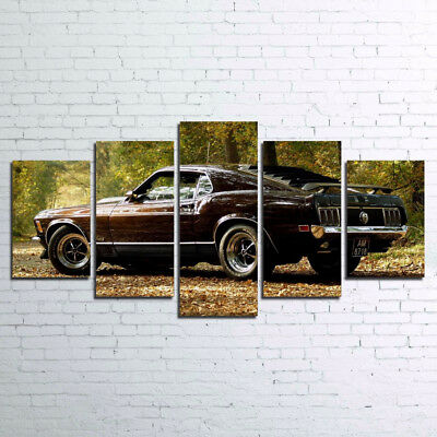 Ford Mustang Sportsroof Classic 1970 Vintage Car 5 Panel Canvas Print Wall Art