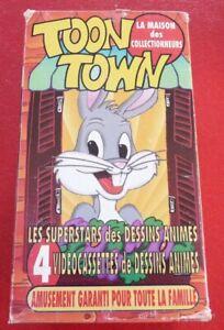 RARE-4-VHS-French-Movies-Box-Toon-Town-La-Maison-des-Collectionneurs