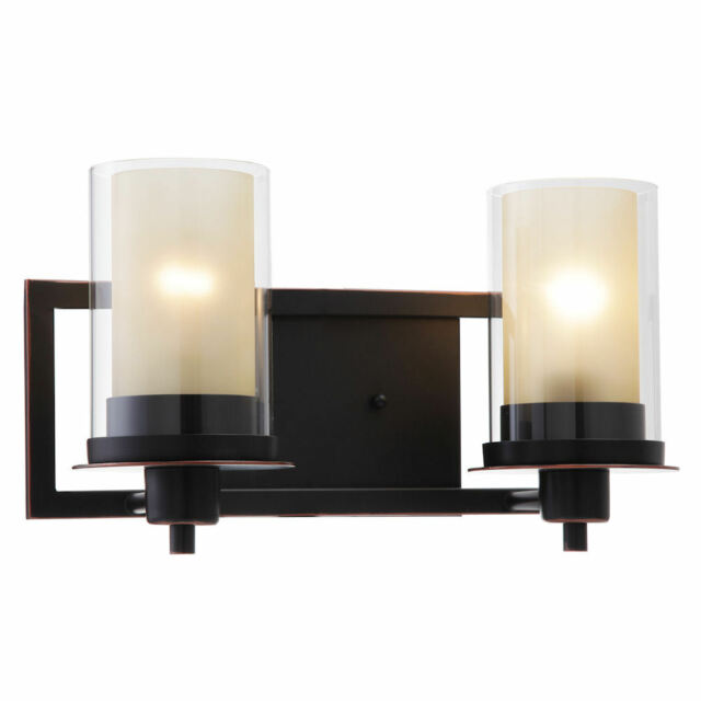 Designers Impressions Juno Oil Rubbed Bronze 2 Light Wall Sconce Bathroom Fixture With Amber And Clear Gl 73470