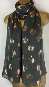 NEW LADIES GREY GOLD FOIL TREE PRINT DESIGN SCARF IDEAL GIFT PRESENT S27