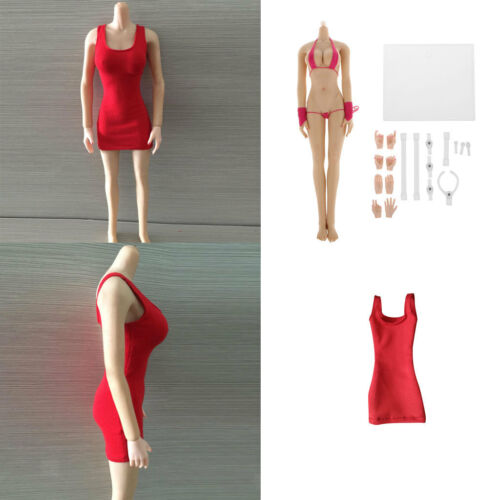 1//6 Scale Female Action Figure Seamless Body Hip Vest Dress for Phicen Kumik
