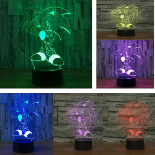 3D illusion Visual Night Light 7 Transform LED Desk Table Lamp Bedroom Decor NB