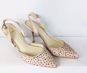 b570ebebdb0 Details about Ladies JENNY PACKHAM Size 6 Pink Satin Slingbacks Mid Heel  Pumps Embellished
