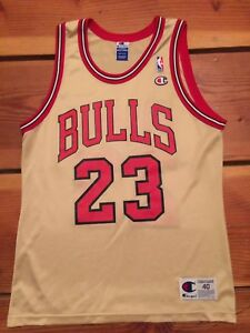 huge discount 78ce9 67733 Details about VTG🔥 Champion NBA Chicago Bulls Michael Jordan Authentic  Gold Jersey 40 Drake