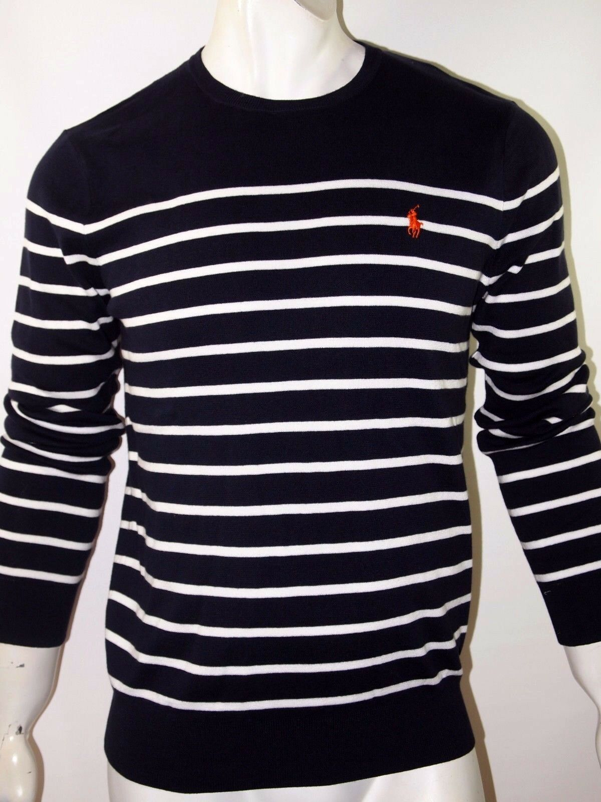Polo Ralph Lauren striped pima light weight sweater Größe xl color navy Blau