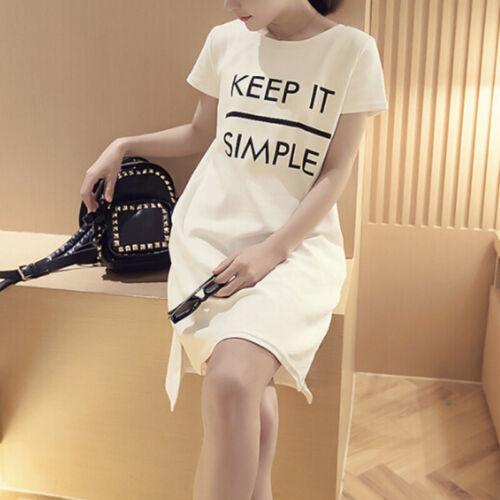Robe Polyester Loisirs Femmes T-shirt long Décontracté à manches courtes
