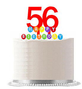 Item#056- Happy 56th Birthday Party Red Cake Topper ...