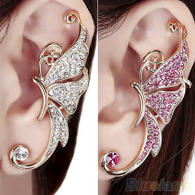 1pc Excellent Womens Butterfly Wing Ear Clip Clamp New Crystal Left Ear Earring