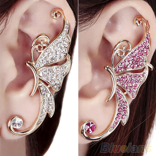 1pc Exquisite Womens Butterfly Wing Ear Clip Clamp Rhinestone Left Ear Earring