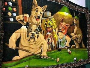 Vintage-Cotton-Tapestry-Wall-Hanging-DTC-Dogs-Playing-Pool-Billards-Rare