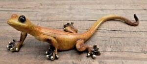 Yellow-speckled-Gecko-Lizard-freestanding-ornament-home-Wall-mounted-UK-SELLER