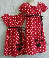 Mother & Daughter Same Dress Minnie Mouse 70's Inspire Red Size S M L Handmade