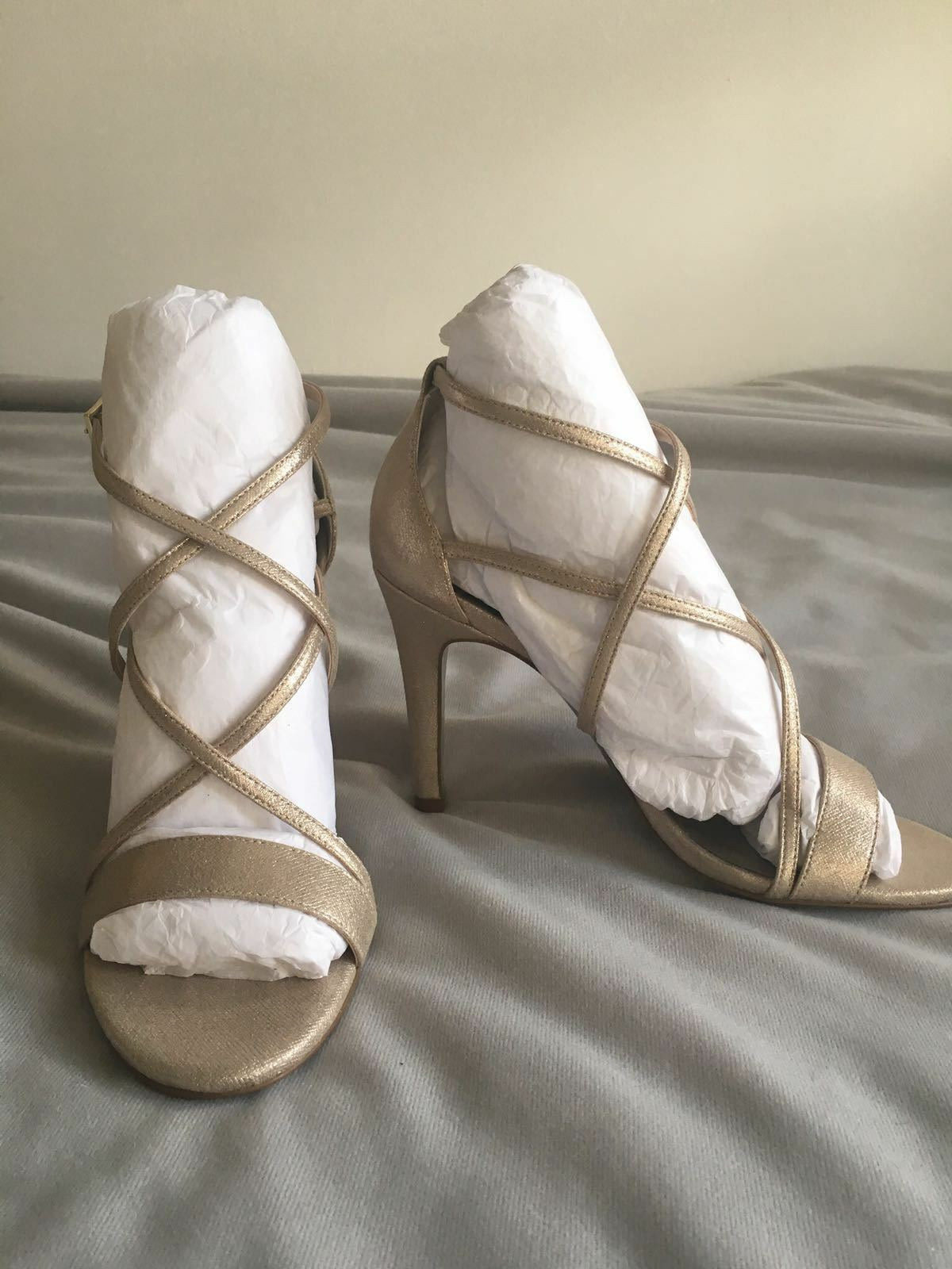 New Jacques Jacques Jacques green Metallic gold Strappy Cross Over Heels Size 4 - WERE 196e0b