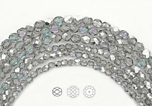 Czech Fire Polished Round Faceted Glass Beads in Crystal Vitrail Light, silver