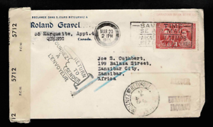 Canada-1943-3-Blackout-slogan-to-Zanibar-returned-letter-office-censor-Can-DLO