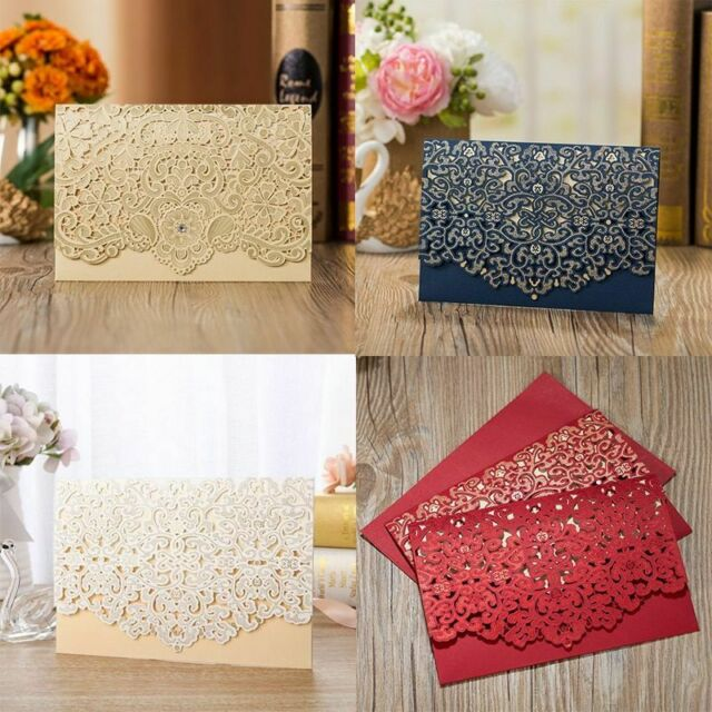 Pack of 50pcs WISHMADE Elegant Red Laser Cut Floral Lace Wedding Invitations Cards with Ribbon Hollow Cardstock for Birthday Engagement Birthday Fancy Party Invites
