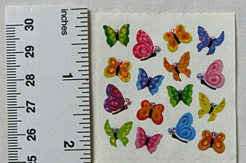1 Square Vintage Mini Butterfly Stickers Sandylion BUTTERFLIES MICRO GLITTER