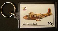 RAF SHORT SUNDERLAND S.25 Flying Boat Seaplane WWII Aircraft Stamp Keyring