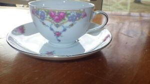 Fine China cup and saucers Pink Rose Floral VIT202  VICTORIA CZECH  5 sets