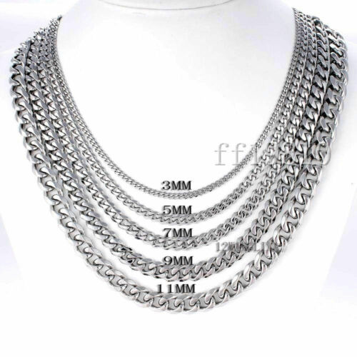 7mm Mens Chain Silver Tone Stainless Steel Curb Cuban Link Necklace 18-45/'/'