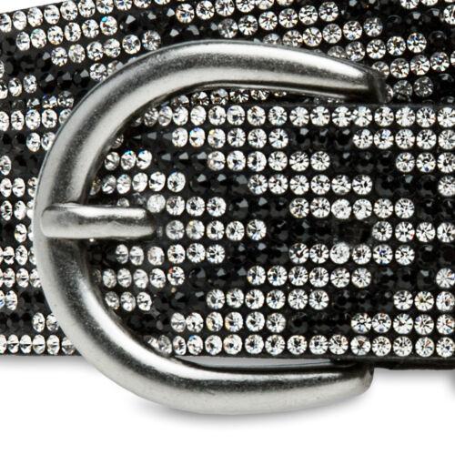 CASPAR GU313 Glitzer Strass Gürtel Hüftgürtel Taillengürtel elegant 28 mm breit