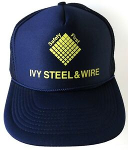 Ivy-Steel-amp-Wire-Snapback-Mesh-Trucker-Hat-Houston-Texas-Safety-First-Blue
