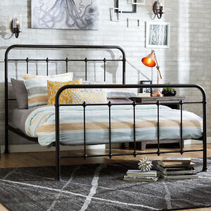 Image Is Loading Antique Metal Bed Queen Farmhouse Vintage Bronze Headboard