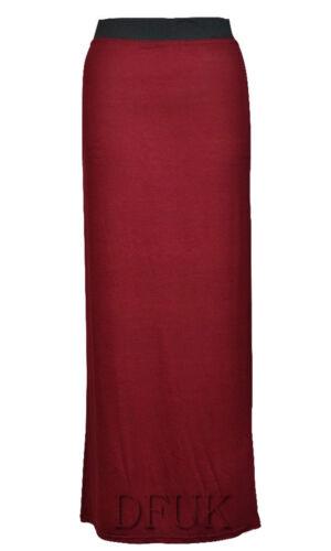 Nouveau femmes long jersey maxi gitane Celeb moulante jupe look robe d/'été taille 8-26
