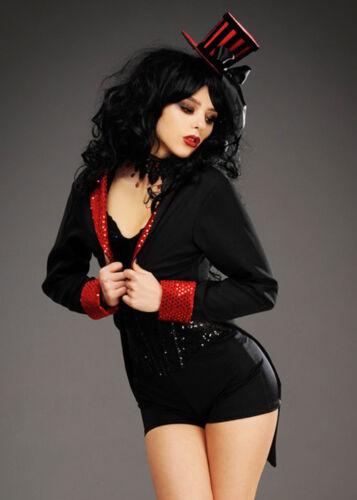 Womens Gothic Burlesque Black Sequin Trim Tailcoat