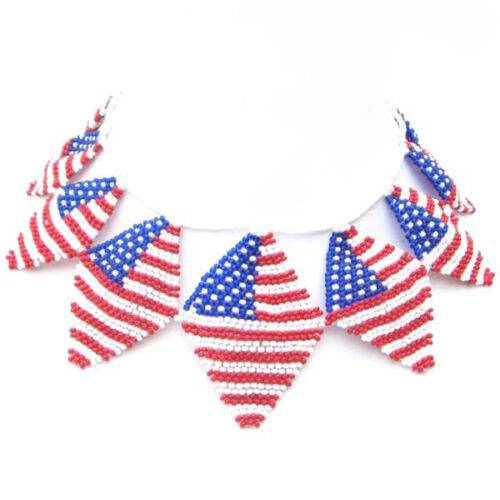 RED BLUE WHITE SEED BEADED AMERICAN FLAG PATRIOTIC  NECKLACE N20//13