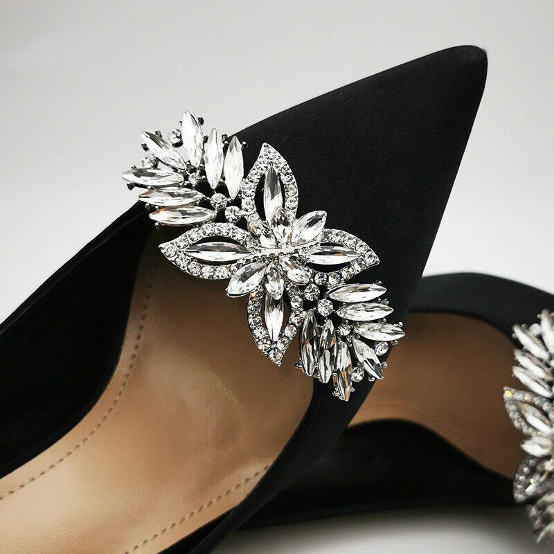 Lady Rhinestone Shoe Clips Diamante Detachable Silver Decoration Charm Sewing