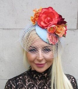 Image Is Loading Orange Red Light Blue Cornflower Rose Birdcage Veil