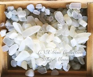 Tumbled-Gemstone-Crystal-White-Moonstone-Chip-Stone-5g-Small-to-Medium