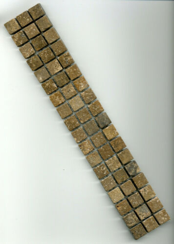 Marmor Mosaik Bordüre Travertin Noce braun 4,9x30x0,8cm; 1,5x1,5cm