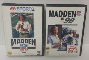 Madden 94 + 96 NFL Football  Sega Genesis Working + Tested 2 Game Lot