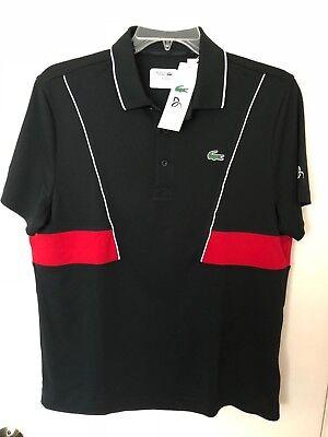 Nwt Lacoste Sport Novak Djokovic Men S Polo Shirt Polyester Ultra Dry Black Red Ebay