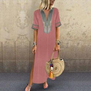 Women-Short-Sleeve-Boho-Casual-Loose-V-Neck-Kaftan-Maxi-Dress-Ladies-Long-Dress