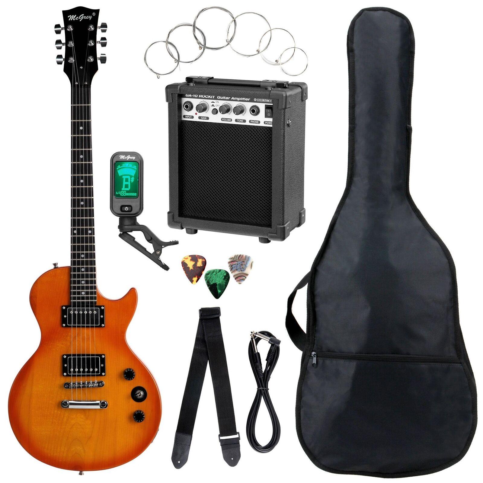 Top Einsteiger E-Gitarre Set Orange Burst mit Verstärker, Tuner, Gigbag & Gurt