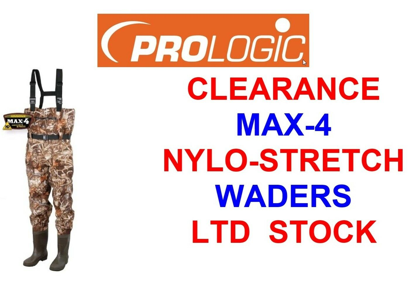 CLEARANCE PROLOGIC MAX-4 NYLO STRETCH CHEST WADERS COARSE CARP FISHING HUNTING