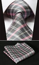 "TC3012K8 Gray Pink Check 3.4"" 100% Silk Woven Men Tie Necktie Handkerchief Set"